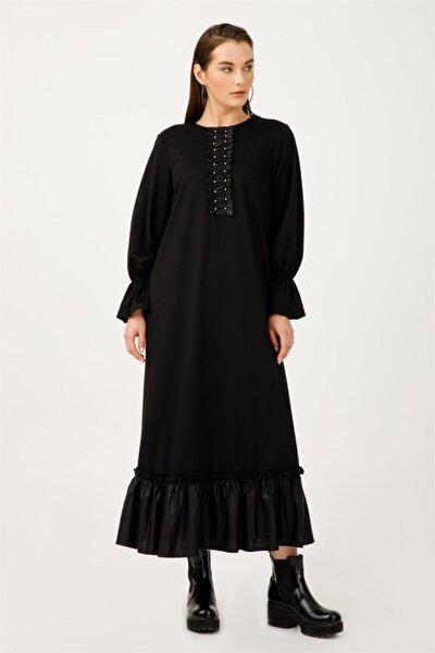 Kadın Siyah Büyük Beden Deri Detaylı Elbise