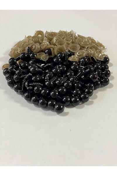 Siyah Amigurumi Vidalı Göz 8 mm 25 Çift 50 Adet