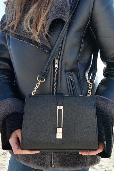 Kadın Siyah Omuz Çanta Demir Işlemeli