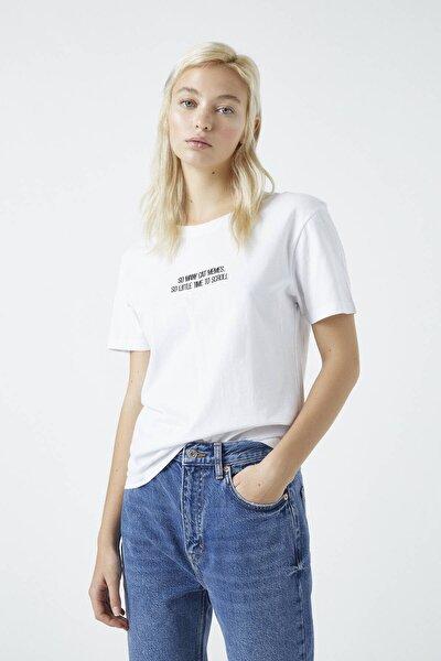 """Kadın Beyaz """"No Time"""" Sloganlı T-Shirt 09244308"""