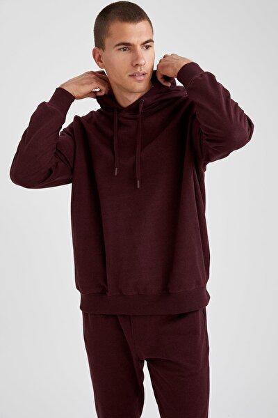 Erkek Bordo Oversize Fit Sweatshirt S3515AZ20AUBR