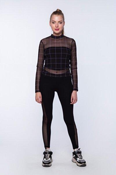 Kadın Siyah Kare Çizgili Desenli Tül Uzun Kollu Bluz
