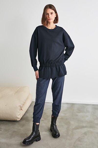 Lacivert Büzgülü Örme Sweatshirt TWOAW21SW1183