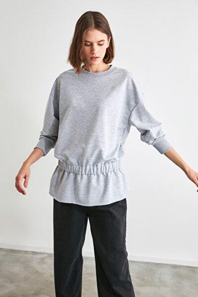 Gri Büzgülü Örme Sweatshirt TWOAW21SW1183
