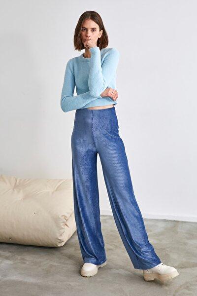 Indigo Kadife Bol Paça Örme Pantolon TWOAW21PL0692