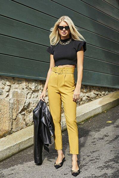 Kadın Sarı Yüksek Bel Kemerli Pantolon