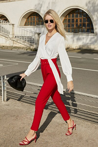 Kadın Kırmızı Yüksek Bel Kemerli Pantolon