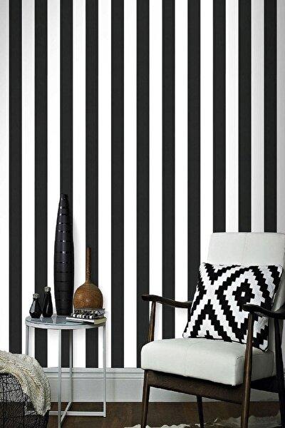Siyah Beyaz Parlak Çizgili Desen Duvar Kağıdı 5,33 M²