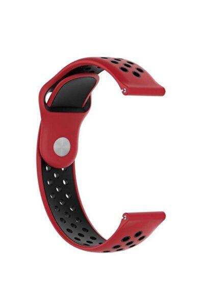 Huawei Watch Gt 2e 46mm Kordon Delikli Çift Renk Silikon Kırmızı