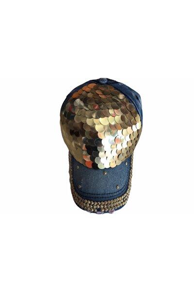 Kadın Mavi Taşlı Kot Kasket Şapka