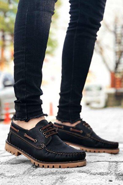 Erkek Siyah Taba Bağcıklı Klasik Ayakkabı