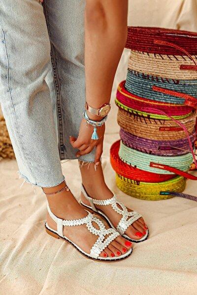 Kadın Gümüş Taş Detaylı Sandalet