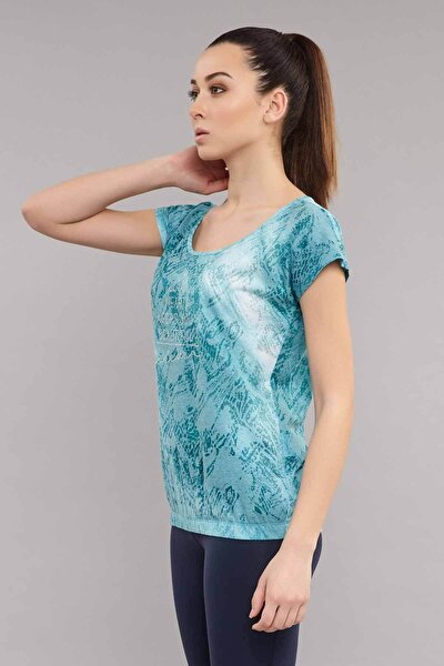 Kadın Mavi Likralı Pamuklu T-Shirt ES-3571
