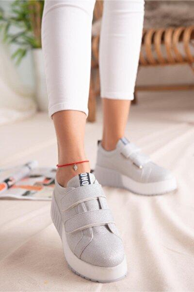 Kadın Gümüş Simli Çift Bantlı Yüksek Tabanlı Sneaker