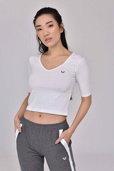 Beyaz Kadın Yoga T-Shırt GS-8105