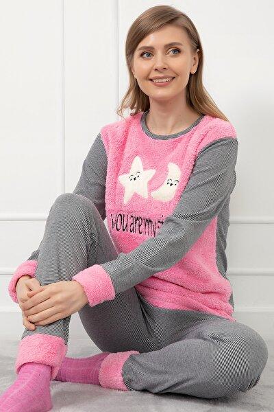 Baskılı Peluş Pijama Takımı