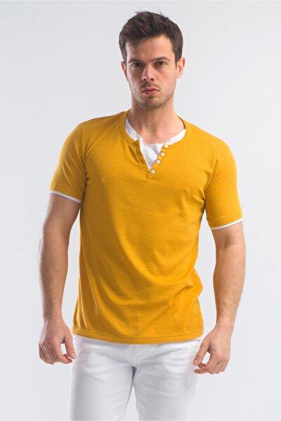 Erkek Hardal V Yaka Düğmeli Tshirt