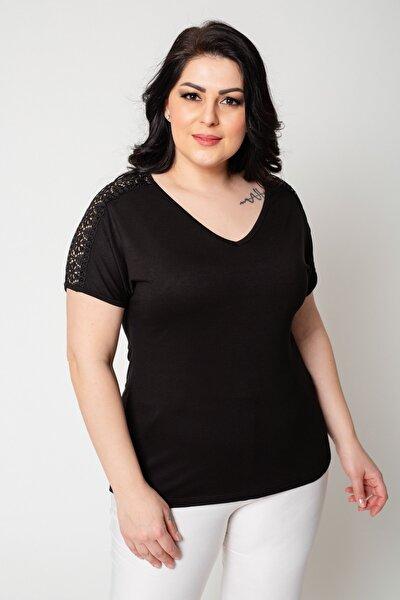 Kadın Büyük Beden Omuz Güpür Detaylı Bluz