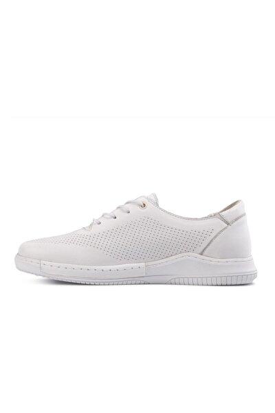 Kadın Beyaz Hakiki Deri  Günlük Ayakkabı