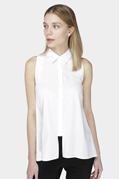 Beyaz Kolsuz Poplin Gömlek