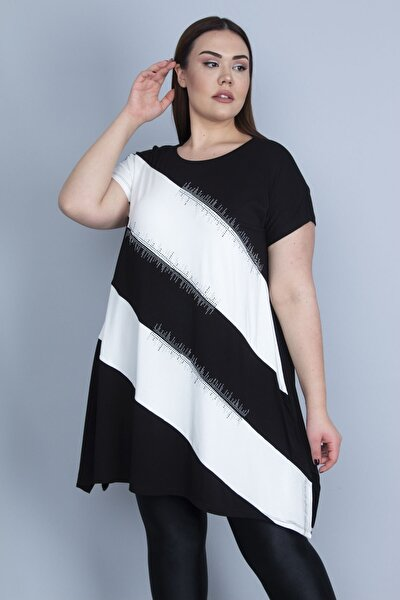 Kadın Kemik Renk Kombinli Taş Detaylı Tunik 65N23129