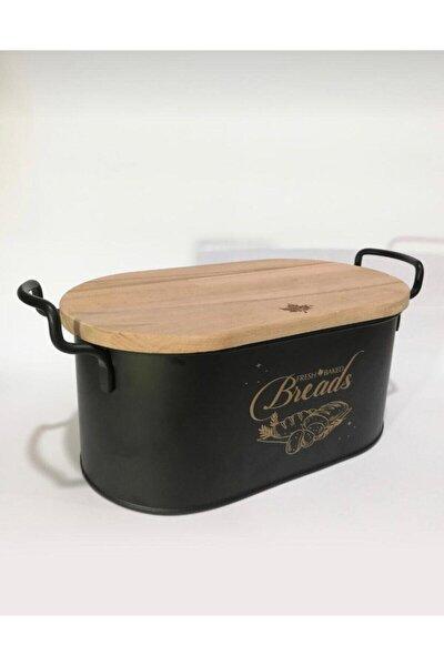 Metal Siyah Kesme Tahtalı Ekmeklik Bambu Kapaklı Lüx Metal Ekmek Kovası