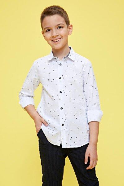 Erkek Çocuk Polo Yaka Pamuklu Uzun Kollu Gömlek