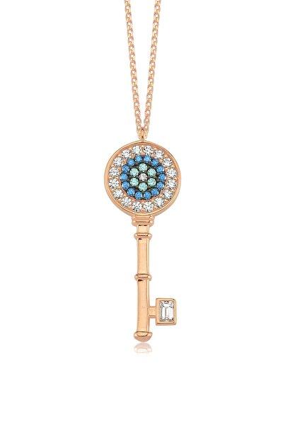 Nazar Gözü Anahtarı, Zirkon Renkli Ve Beyaz Taşlı, Rose Gümüş Kolye