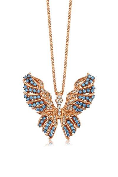 Işıltılı Kelebek, Zirkon Mavi Ve Beyaz Taşlı, Rose Gümüş Kolye