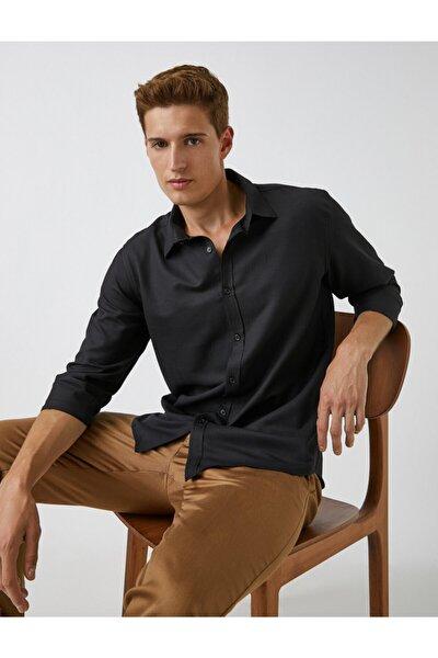 Erkek Siyah Basic Gömlek