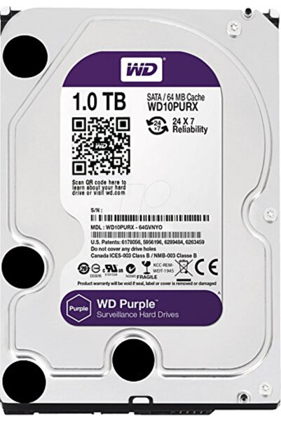 """Wd Purple 1 Tb 3.5"""" 7200 Rpm Sata 3 Wd10purz Güvenlik Harddisk Hdd 7/24 Pc"""