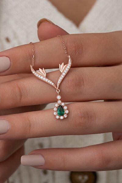 925 Ayar Gümüş Yeşil Damla Taşlı Tasarım Kolye Kadın Gümüş Kolye
