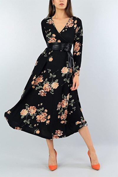 Kadın Büyük Beden Gül Desen Süet Kumaş Full Likralı Kemer Dahil Elbise Boy 120cm