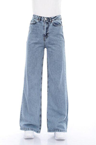 Kadın Mavi Yüksek Bel Bol Paça Jeans