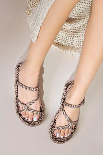 Kadın Açık Vizon Halat Sandalet