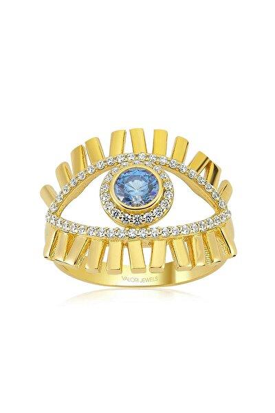 Mavi Işık Nazar Gözü, Zirkon Mavi Ve Beyaz Taşlı, Altın Rengi Gümüş Yüzük