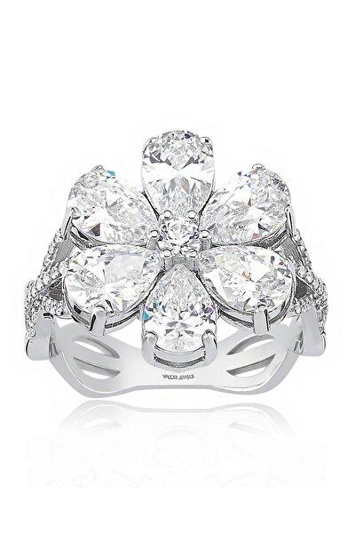 4 Karat Zirkon Beyaz Damla Taşlı, Manolya Çiçek Gümüş Yüzük