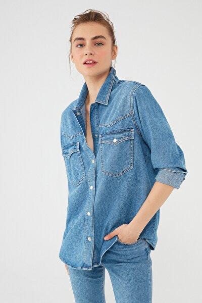 Kadın Jenny Gold Mavi Denim Gömlek 122245-32530