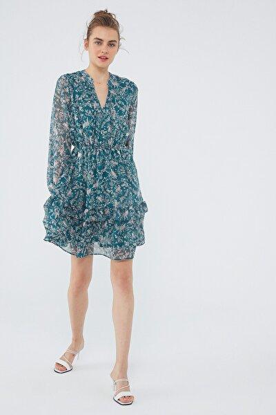 Kadın Uzun Kollu Yeşil Elbise 131172-35689 131172-35689