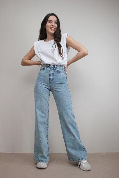 Kadın Açık Mavi Kar Yıkama Yüksek Bel Bol Paça Denim Kot Pantolon