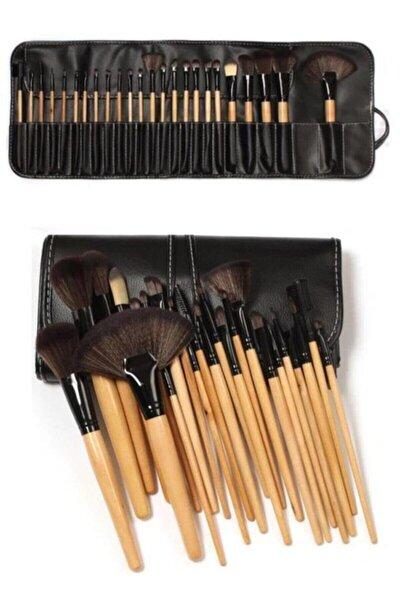 24'lü Profesyonel Deri Çantalı Bambu Makyaj Fırça Seti