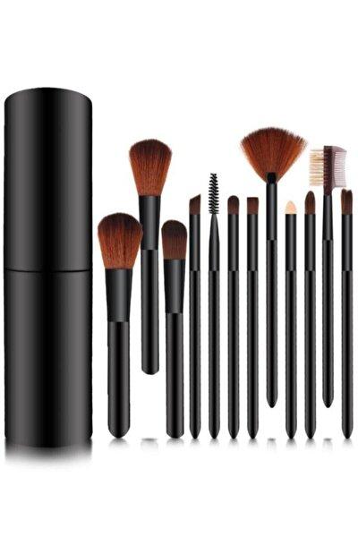 Silindir Makyaj Fırça Seti Siyah Renk