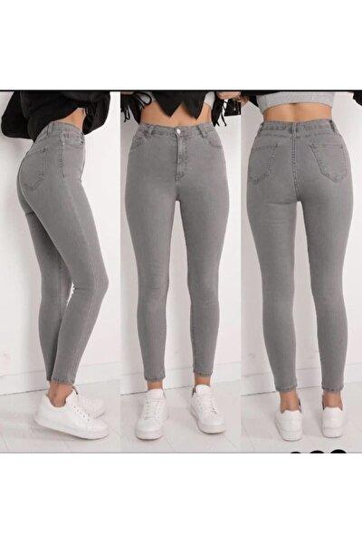 Kadın Gri Likralı Yüksel Bel Jeans Kot Pantolon