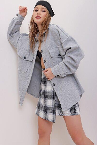 Kadın Gri Kaşe Pamuklu Oversize Ceket Gömlek ALC-X7143
