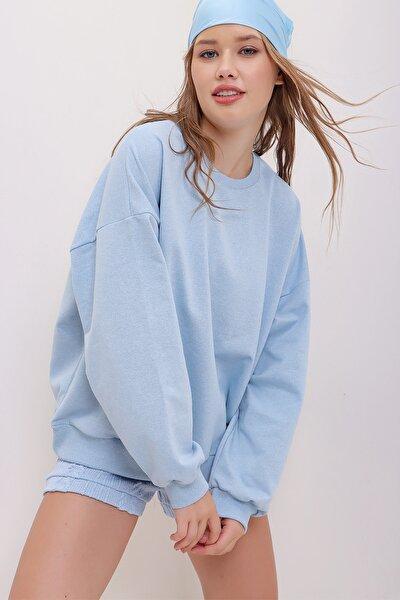 Kadın Mavi Bisiklet Yaka Oversize Basic Sweatshirt ALC-669-001