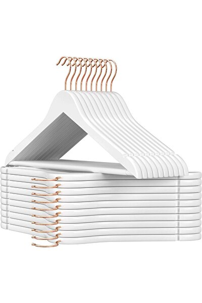 Beyaz Ahşap Askı Kıyafet Elbise Gömlek Ve Pantolon Askısı Özel Gold Kanca 24 Adet