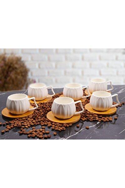 6 Kişilik Porselen Bambu Tabak Kahve Fincan Takımı Papatya