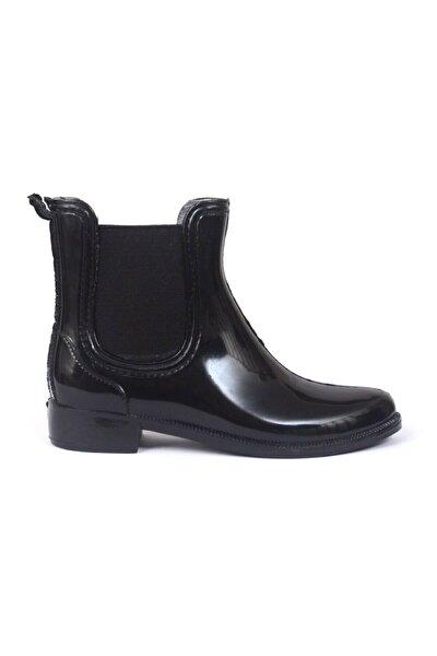 Siyah Kısa Yağmur Çizmesi