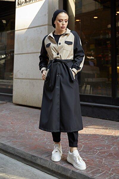 Kadın Iki Renkli Cep Detaylı Siyah Trençkot