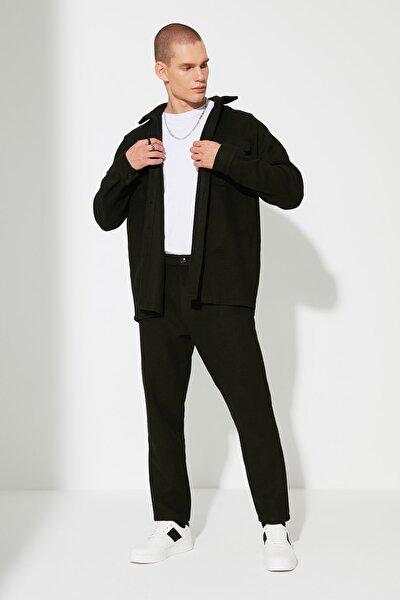 Siyah Erkek Relax Fit Kemer Belli Chino Cepli Pantolon TMNAW22PL0016